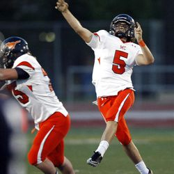 Mountain Crest's #5 Jamison Webb heaves a pass down field just before half time Friday, Aug. 31, 2012.