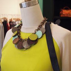 Lela Rose Wood Button Necklace, $495