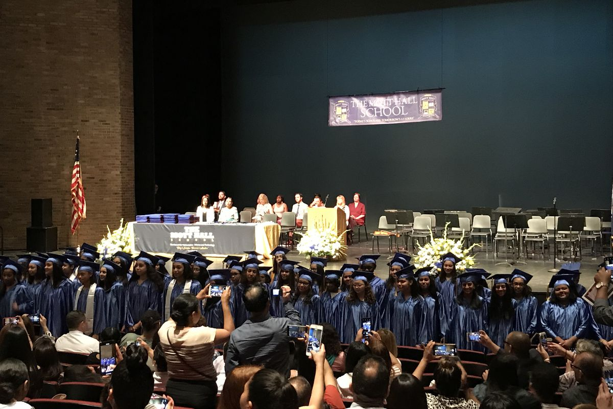 Chancellor Richard Carranza spoke at The Mott Hall School's graduation where he addressed the growing controversy over his agenda.