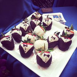 How cute are these strawberries dipped in chocolate tuxedos? Yes, we had seconds (okay, thirds).