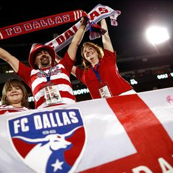 FRISCO, TX - APRIL 25:  Fans cheer as FC Dallas takes on Real Salt Lake at FC Dallas Stadium on April 25, 2012 in Frisco, Texas.  (Photo by Tom Pennington/Getty Images)