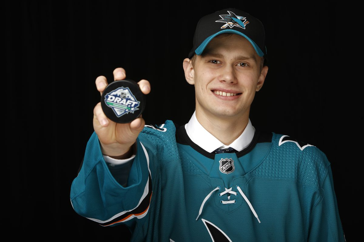 Yegor Spiridonov poses after being selected 108th overall by the San Jose Sharks during the 2019 NHL Draft at Rogers Arena on June 22, 2019 in Vancouver, Canada.