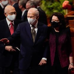 President Russell M. Nelson, president of The Church of Jesus Christ of Latter-day Saints with his spouse Wendy Nelson wave towards the audience while exiting Saturday night session of the 191st Semiannual General Conference of The Church of Jesus Christ of Latter-day Saints at the Conference Center in Salt Lake City on Saturday, Oct. 2, 2021.