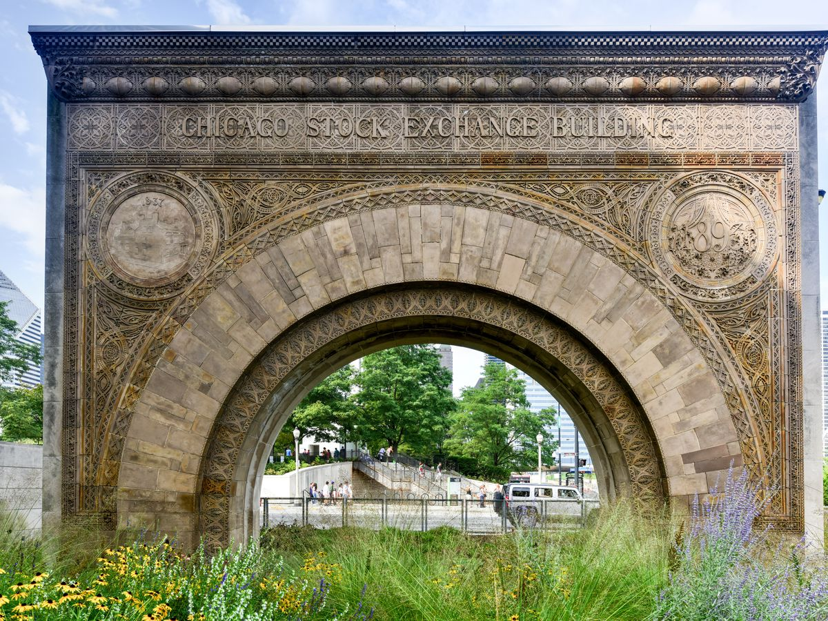 The Chicago Stock Exchange Arch. This is a large arch with various details and decorations etched into its facade.