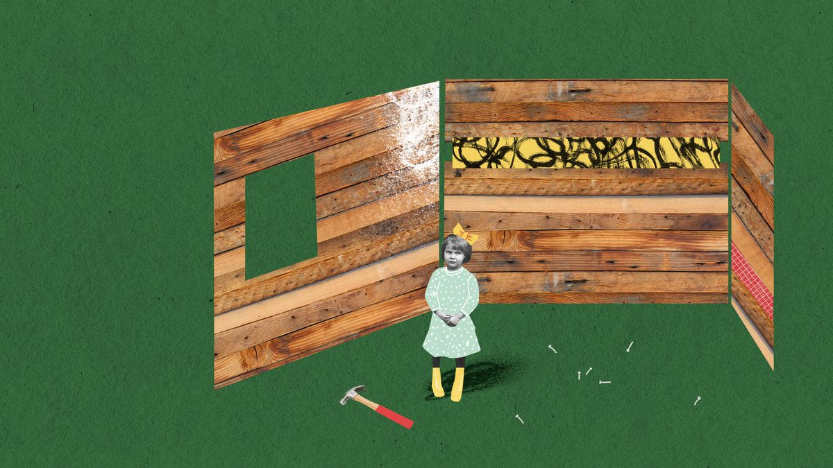 A small girl in a dress with a perplexed look on her face stands in front of three wooden walls under construction. There's a hammer lying on the ground near her feet. Illustration.