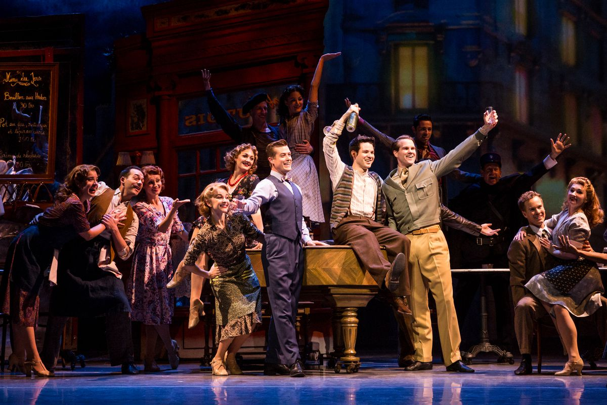 """Nick Spangler (center, from left), Etai Benson and McGee Maddox in """"An American in Paris."""" 