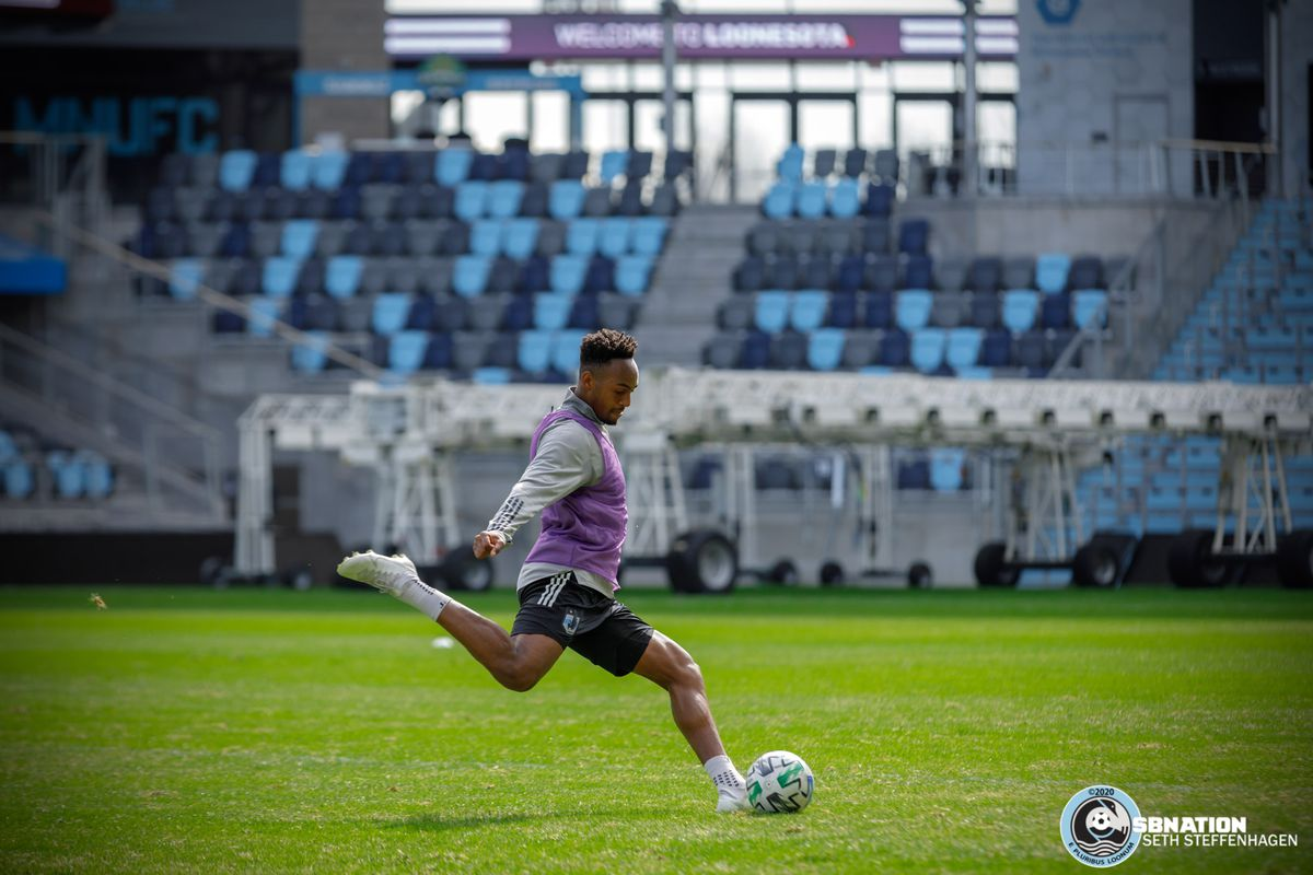 March 10, 2020 - Saint Paul, Minnesota, United States - Minnesota United forward Mason Toye (23) takes a shot on goal during the Loon's first team practice at Allianz Field.