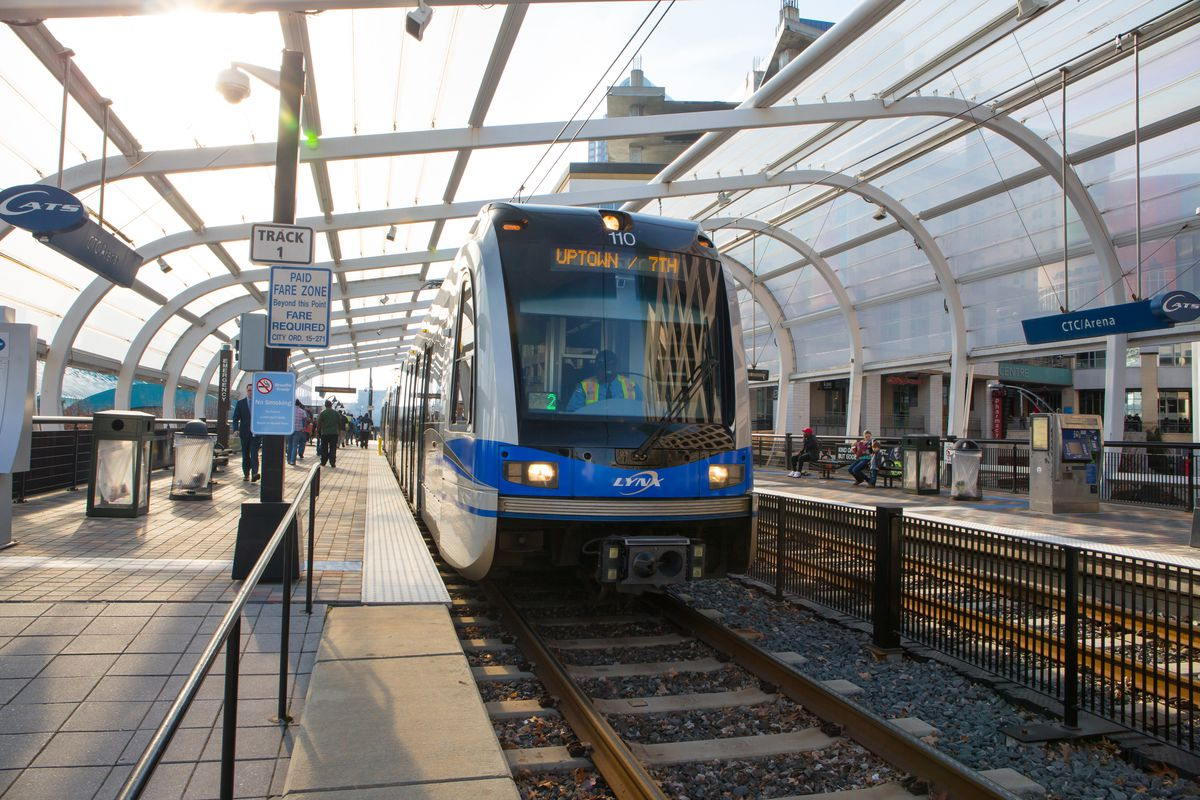 A Blue Line light rail station in downtown Charlotte, NC. The city is adding 9.3 miles of new light rail this year.