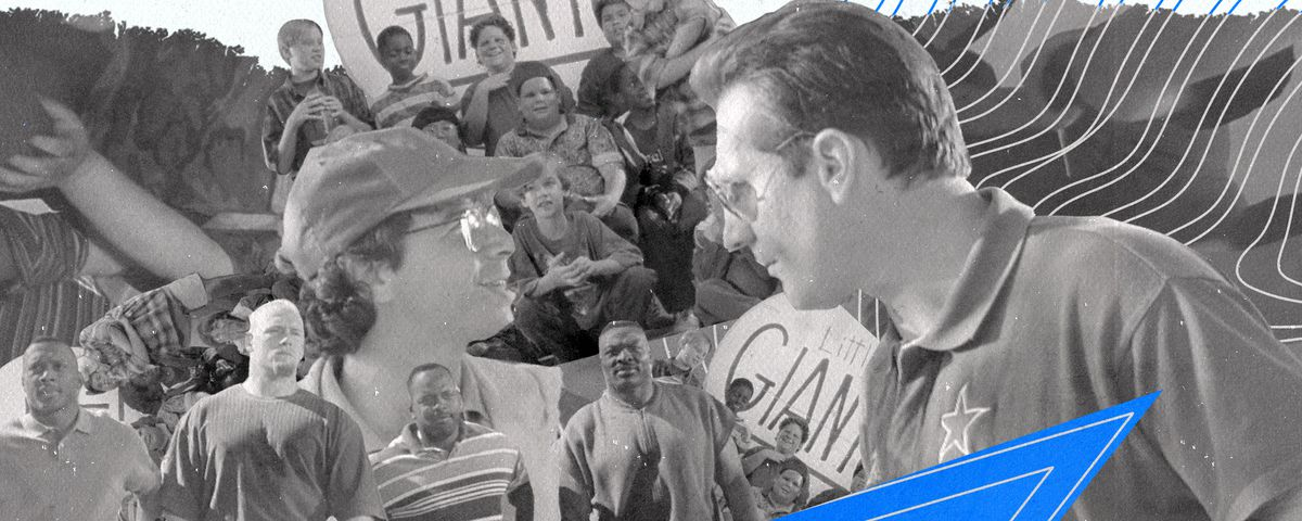 A black-and-white collage of characters from the 1994 movie Little Giants