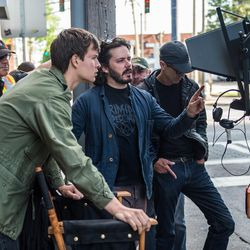"""Ansel Elgort and director Edgar Wright on the set of """"Baby Driver."""""""
