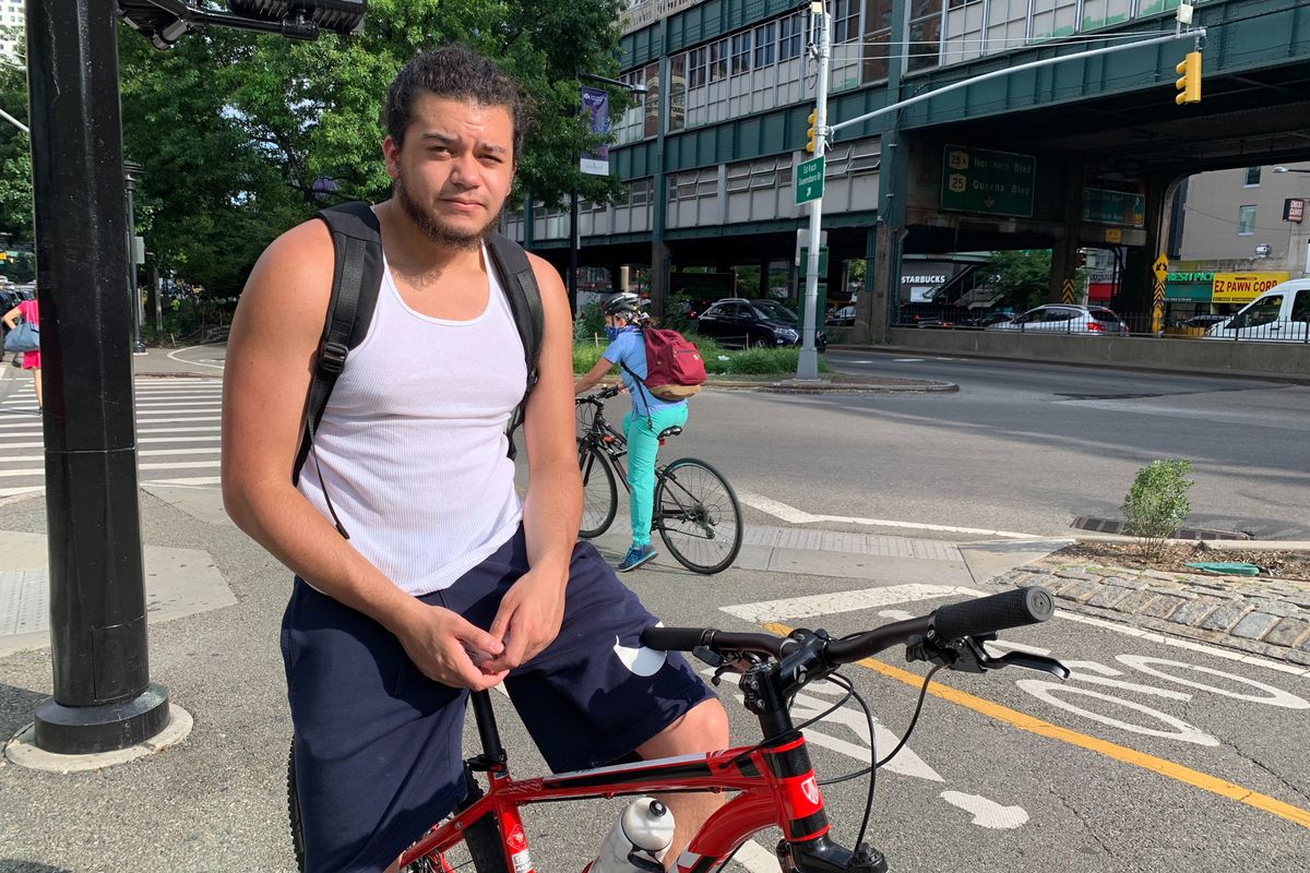 Andre Figueroa says he likes to ride from his home in Astoria over the Queensboro Bridge into Manhattan, Aug 3, 2020.