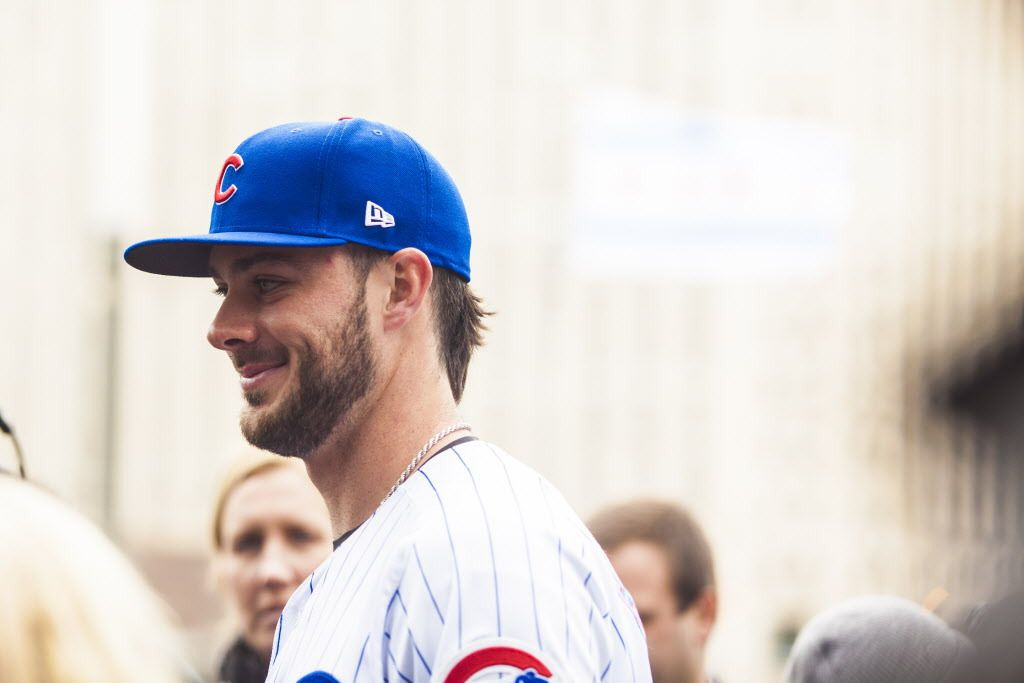 Kris Bryant, Chicago Cubs third baseman, gets interviewed at 444 W. Lake St. after hitting baseballs into the Chicago River on April 11. | Maria Cardona/ Sun-Times