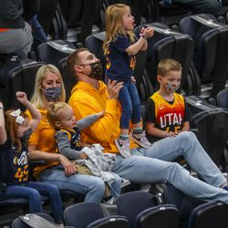 Fans cheer during the Jazz game at Vivint Smart Home Arena in Salt Lake City on Thursday, April 8, 2021.