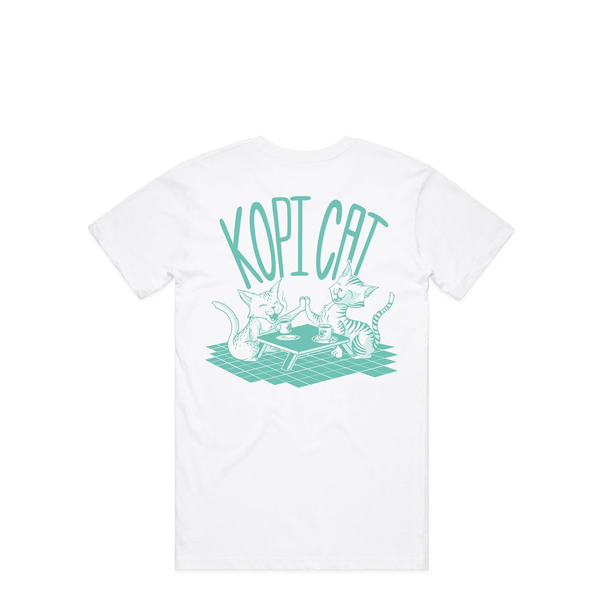 A London restaurant t-shirt with green cats and a Kopi Cat slogan