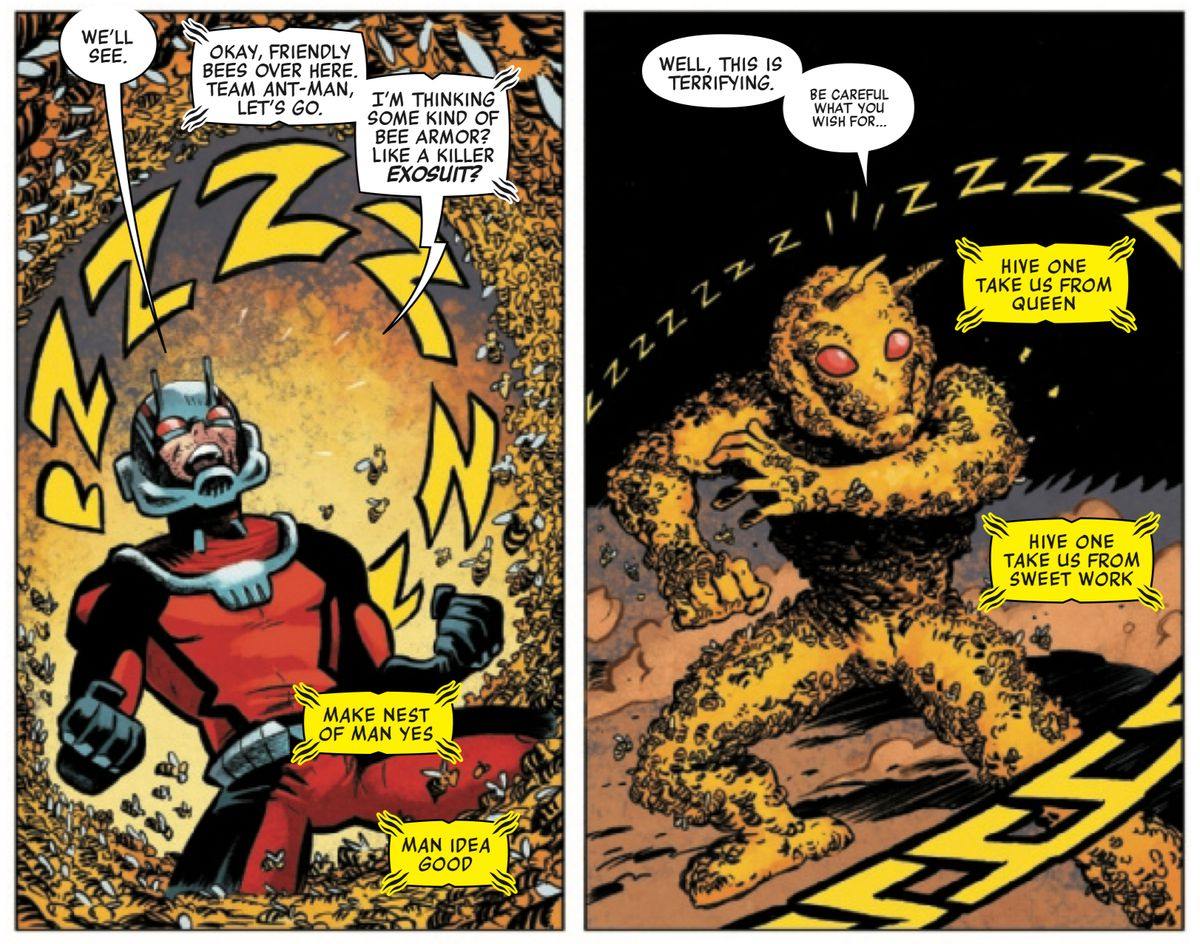 """Ant-Man calls upon bees to become his armor. """"Make nest of man yes,"""" the bees respond, """"man idea good,"""" in Ant-Man #1, Marvel Comics (2020)."""