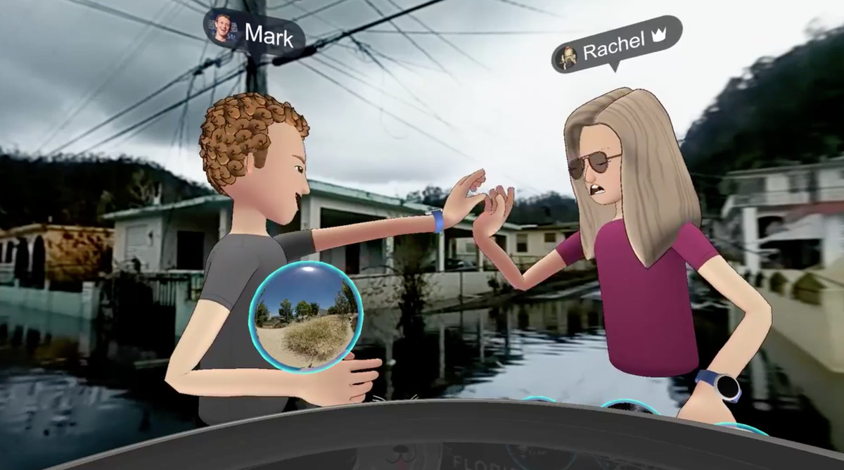 Mark Zuckerberg and Rachel Franklin high-fiving during a virtual reality visit to Puerto Rico