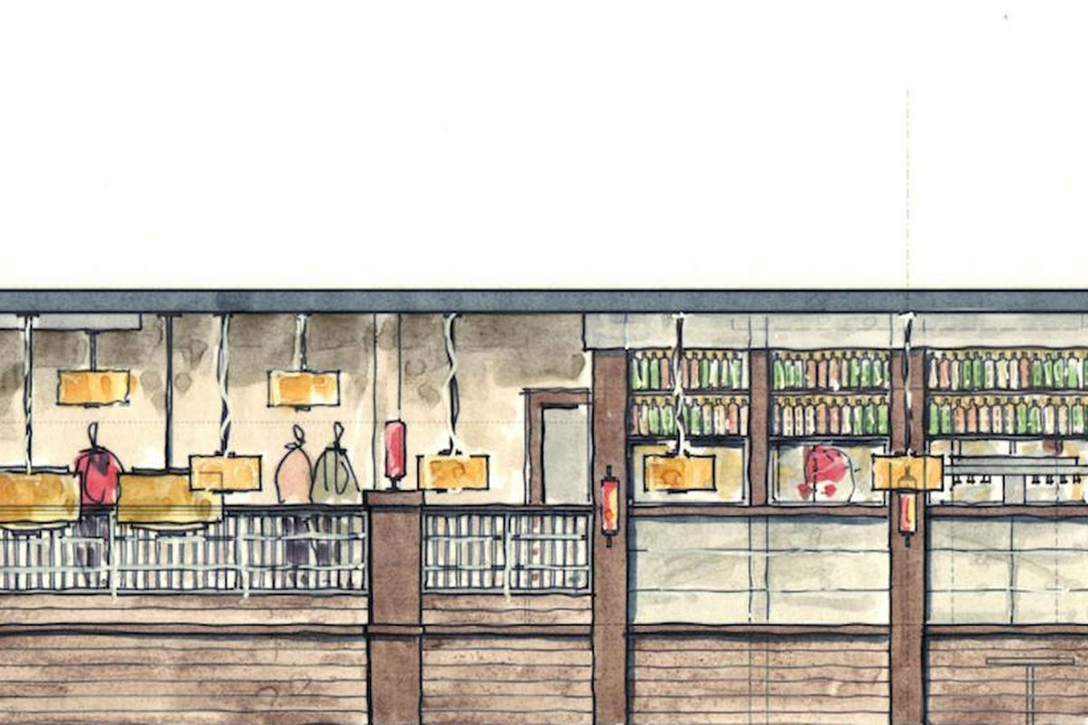 A rendering of Amara's bar, as seen from the dining room.