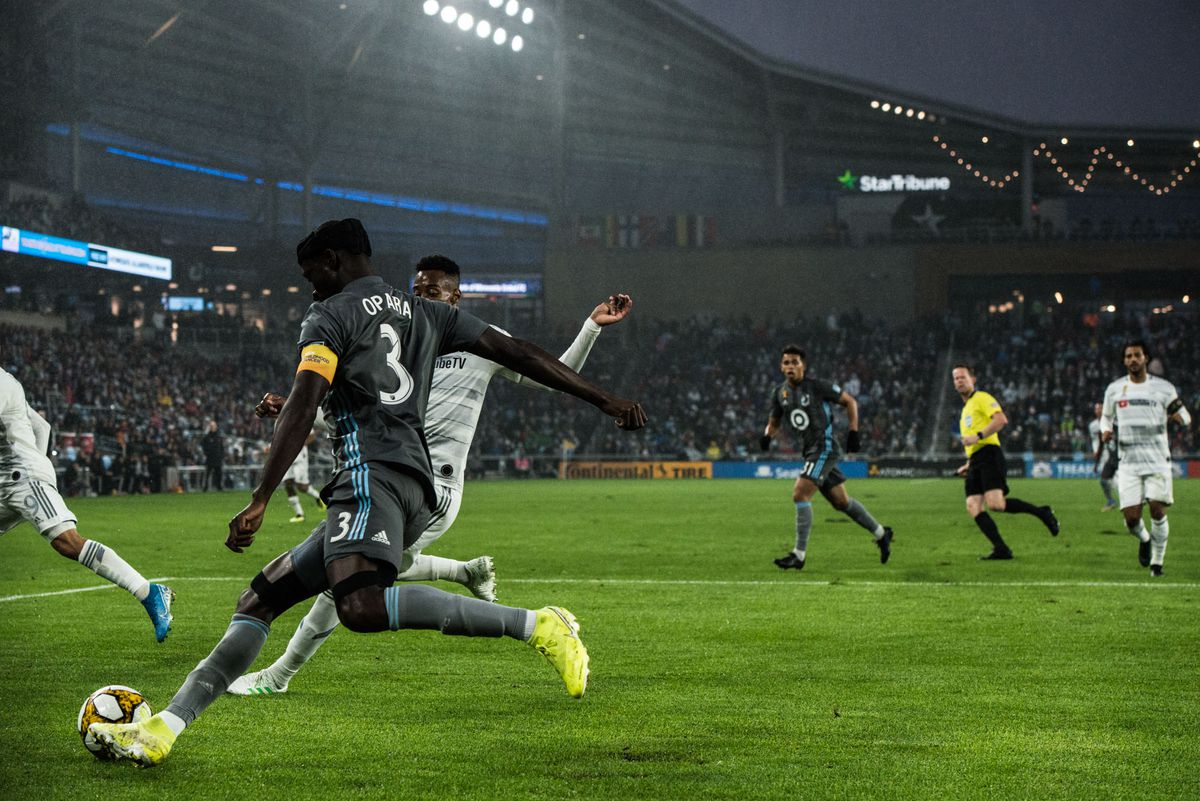September 29, 2019 - Saint Paul, Minnesota, United States -Ike Opara clears a ball during an MLS match between Minnesota United and Los Angeles Football Club at Allianz Field (Photo: Tim C McLaughlin)