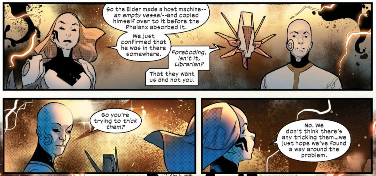 The Librarian explains the nature of the Ascension these future people have discovered, in Powers of X #4, Marvel Comics (2019).