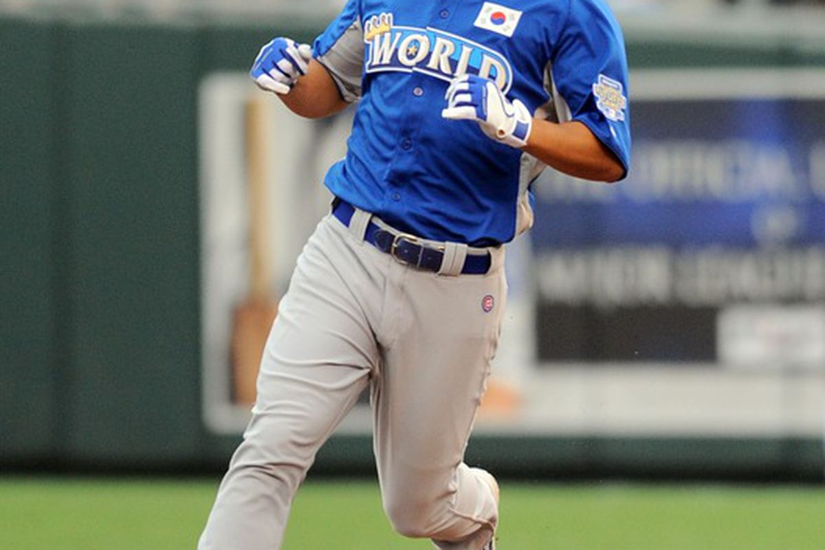 Kansas City, MO, USA; World batter and Cubs prospect Jae-Hoon Ha rounds the bases after hitting a two-run home run in the 2012 All Star Futures Game at Kauffman Stadium. Credit: Denny Medley-US PRESSWIRE