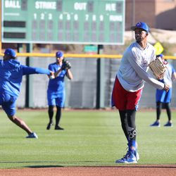 Carl Edwards Jr. throwing the baseball on Field 1 at Riverview Park, the Spring Training home of the Chicago Cubs in Mesa, AZ.    John Antonoff/For the Sun-Times
