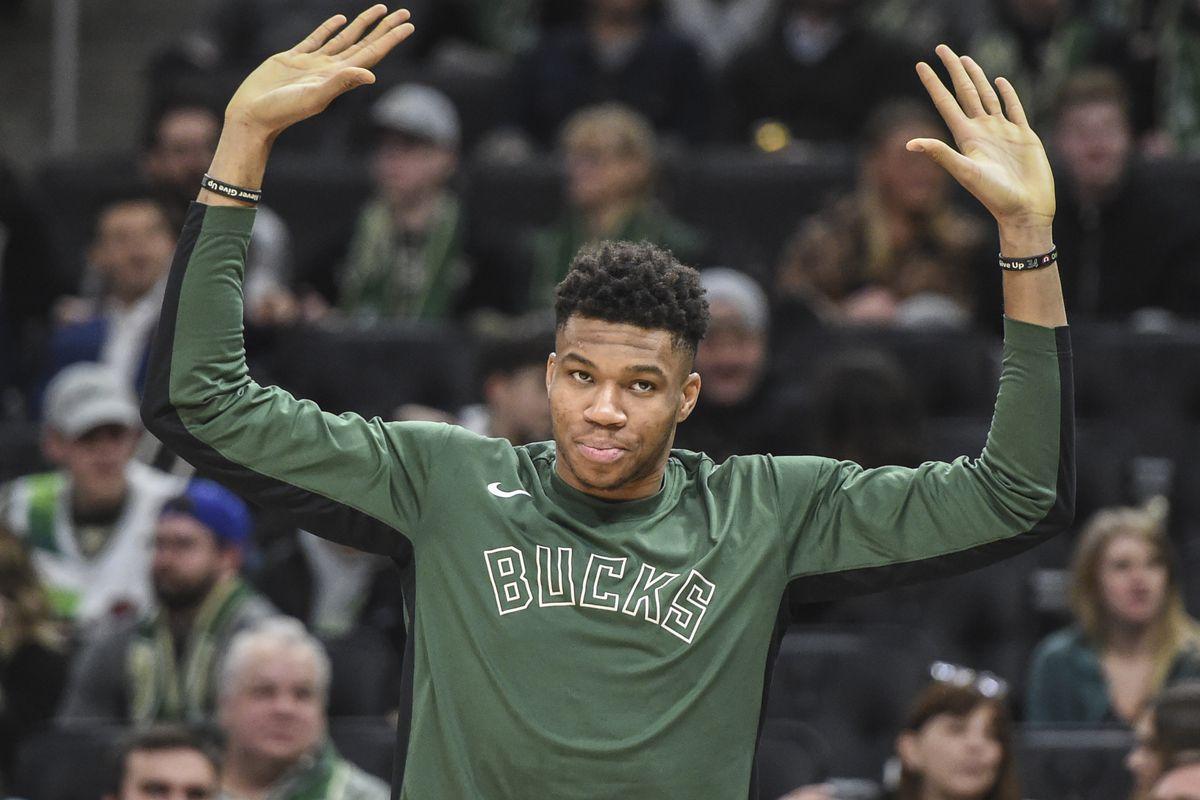Milwaukee Bucks forward Giannis Antetokounmpo reacts after the Bucks defeated the New York Knicks at Fiserv Forum.