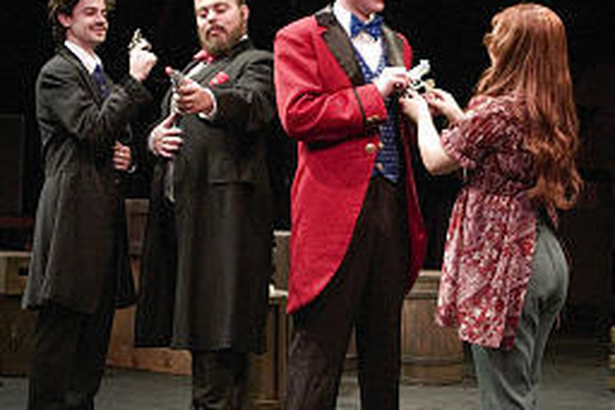 "Nicholas Dunn, left, Sean Kazarian, Thomas Marcus and Hannah Stone star in Babcock Theatre's production of Stephen Sondheim's ""Assassins."""