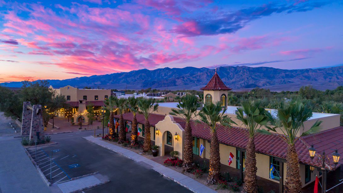 Ranch style resort at sunset