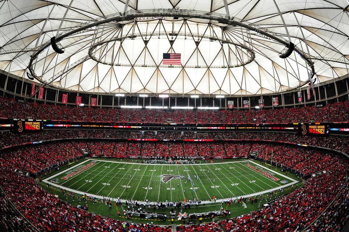 ATLANTA, GA - OCTOBER 16: A general view of the Georgia Dome during the game between the Atlanta Falcons and the Carolina Panthers on October 16, 2011 in Atlanta, Georgia. (Photo by Scott Cunningham/Getty Images)