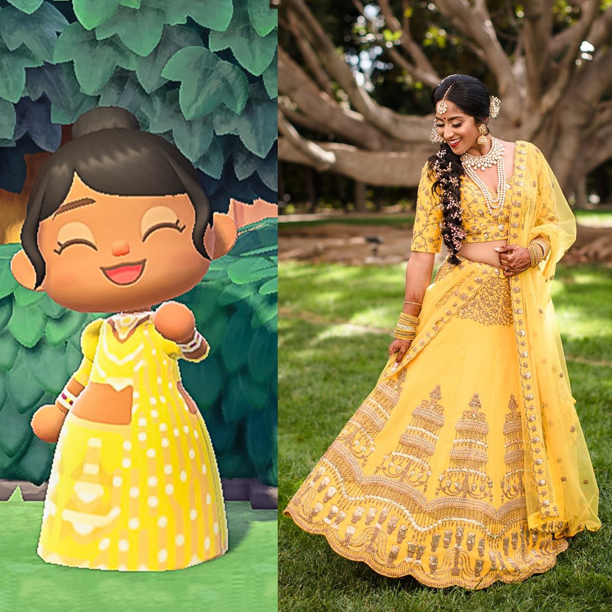 A picture with two fields, on the right a photo of a woman in her yellow wedding lehenga, and on the left a screenshot from Animal Crossing: New Horizons showing her character in a bespoke version of the same outfit