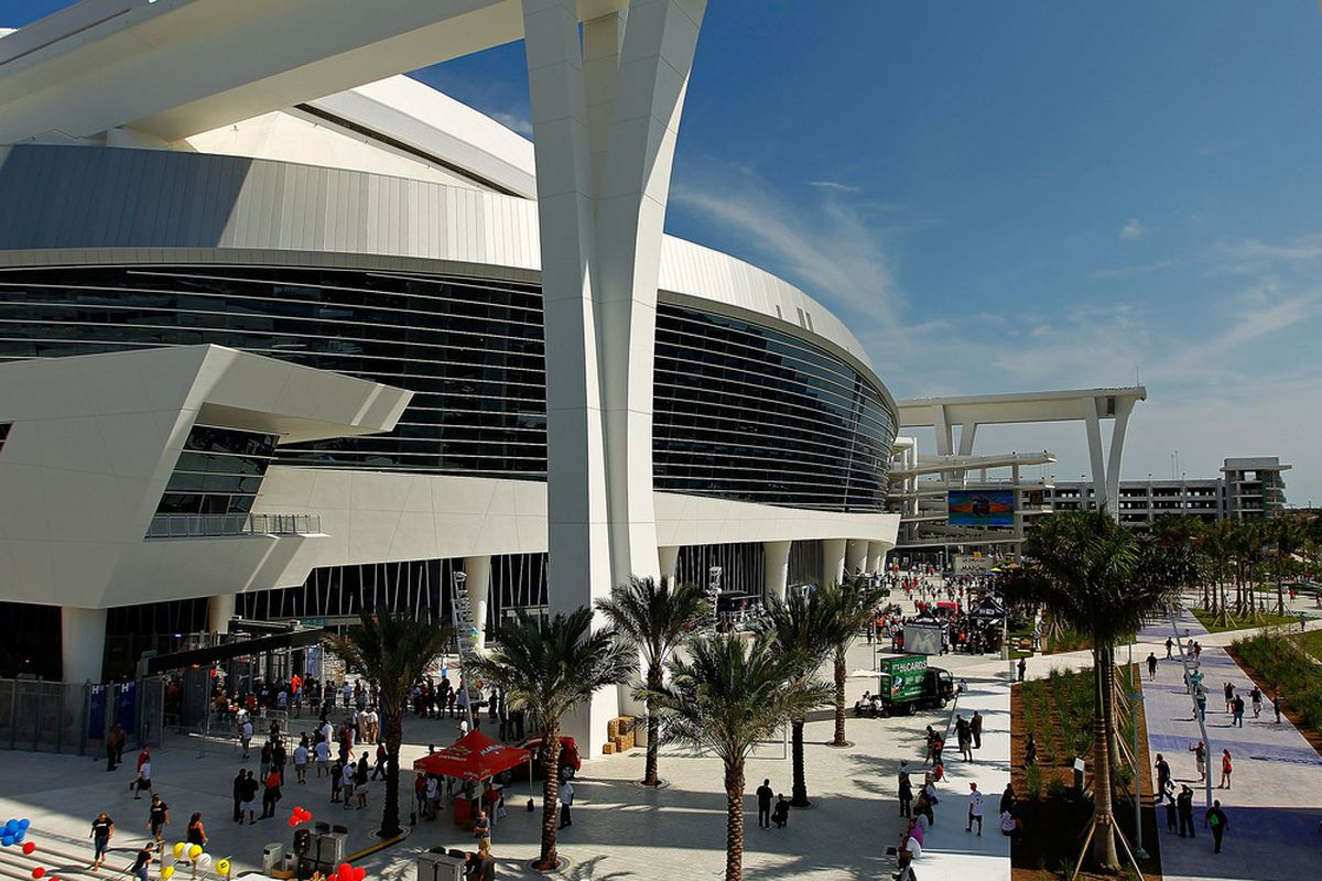 MIAMI, FL - APRIL 04:  An exterior view during Opening Day between the Miami Marlins and the St. Louis Cardinals at Marlins Park on April 4, 2012 in Miami, Florida.  (Photo by Mike Ehrmann/Getty Images)