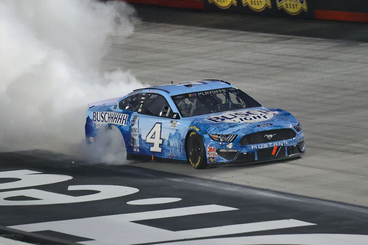 NASCAR Cup Series driver Kevin Harvick does a burnout after winning the Nascar Bass Pro Shops NRA Night Race at Bristol Motor Speedway.