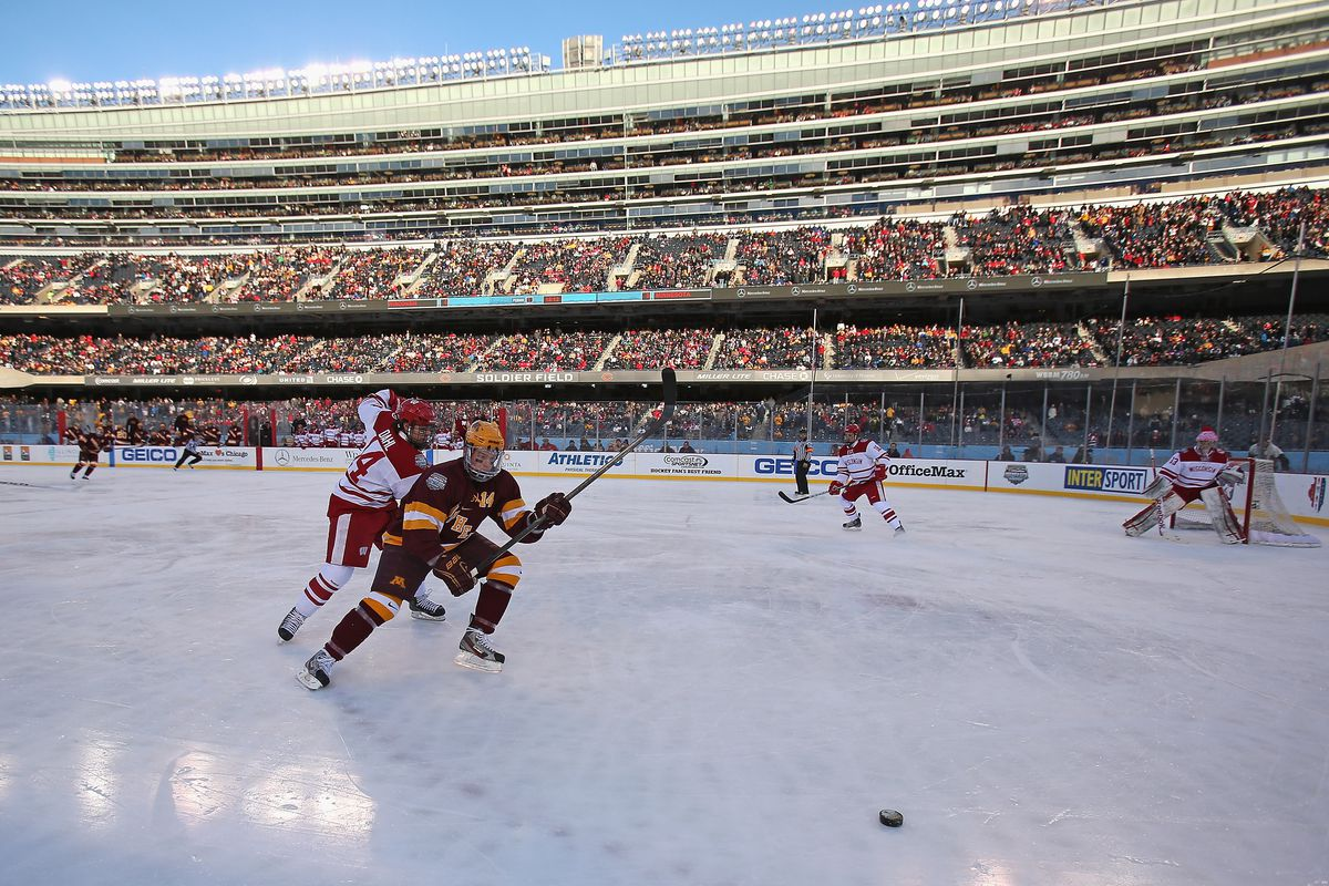 Minnesota and Wisconsin at the inaugural Hockey City Classic