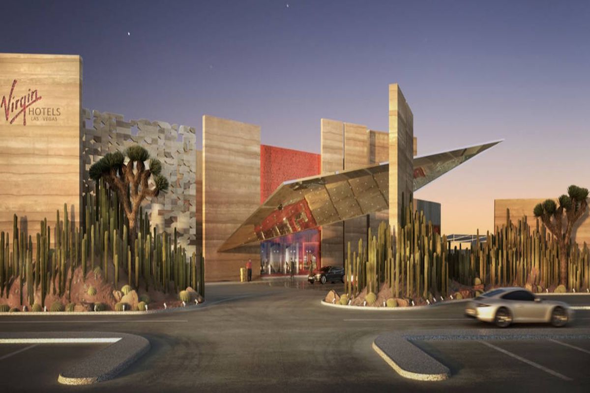 A rendering of teh porte cochere area, coming to the Virgin Hotels Las Vegas in late 2020.