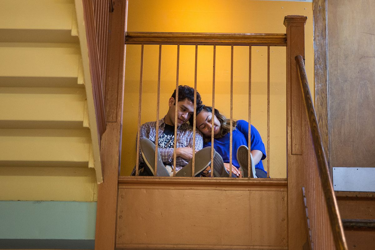 """Hector Velazquez plays the resident romantic with Kiara Lyn Manriquez as his desired prom date in """"Learning Curve,"""" a production of the Albany Park Theater Project. (Photo: Liz Lauren)"""
