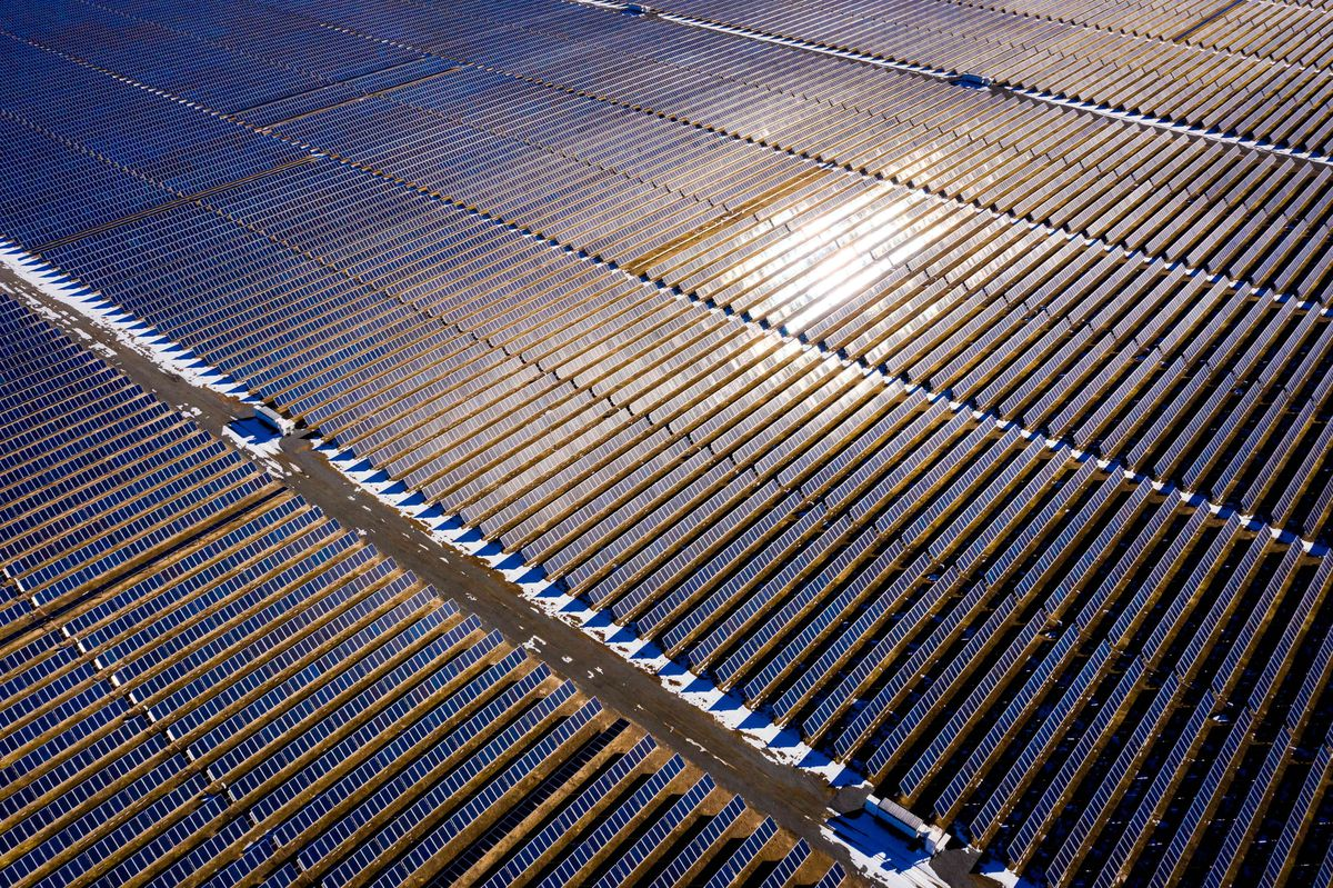 A photovoltaic solar panel installation north of Milford, Beaver County, is pictured on Friday, Jan. 15, 2021.