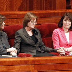 From left, Sister Carole M. Stephens, Sister Linda K. Burton and Sister Linda S. Reeves take the stand after being called to the General Relief Society Presidency during the 182nd Annual General Conference for The Church of Jesus Christ of Latter-day Saints at the LDS Conference Center in Salt Lake City on Saturday, March 31, 2012.