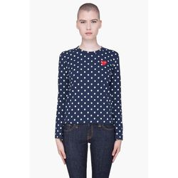 "<a href="" http://www.ssense.com/women/product/play_comme_des_garcons/navy_polka_dot_t-shirt/57020""> Play Comme des Garçons navy polka dot tee shirt</a>, $340 ssense.com"
