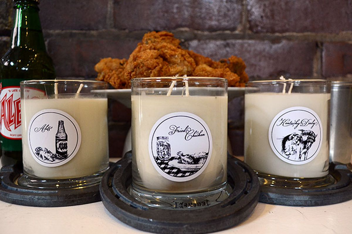"""Image <a href=""""http://www.kentuckyforkentucky.com/products/scents-of-the-commonwealth-fried-chicken"""">Kentucky Fried Chicken candle</a>, $22"""