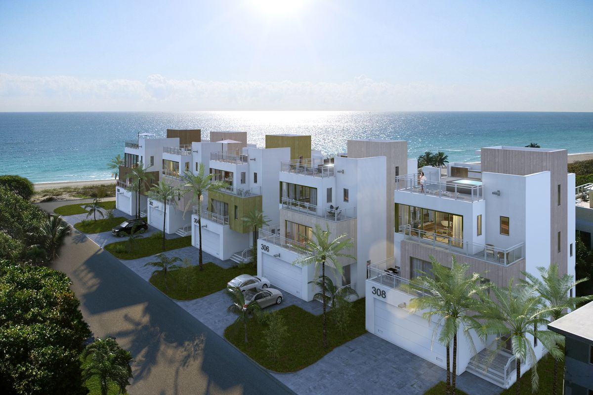 A luxury townhouse development rendering on the beach in Hollywood