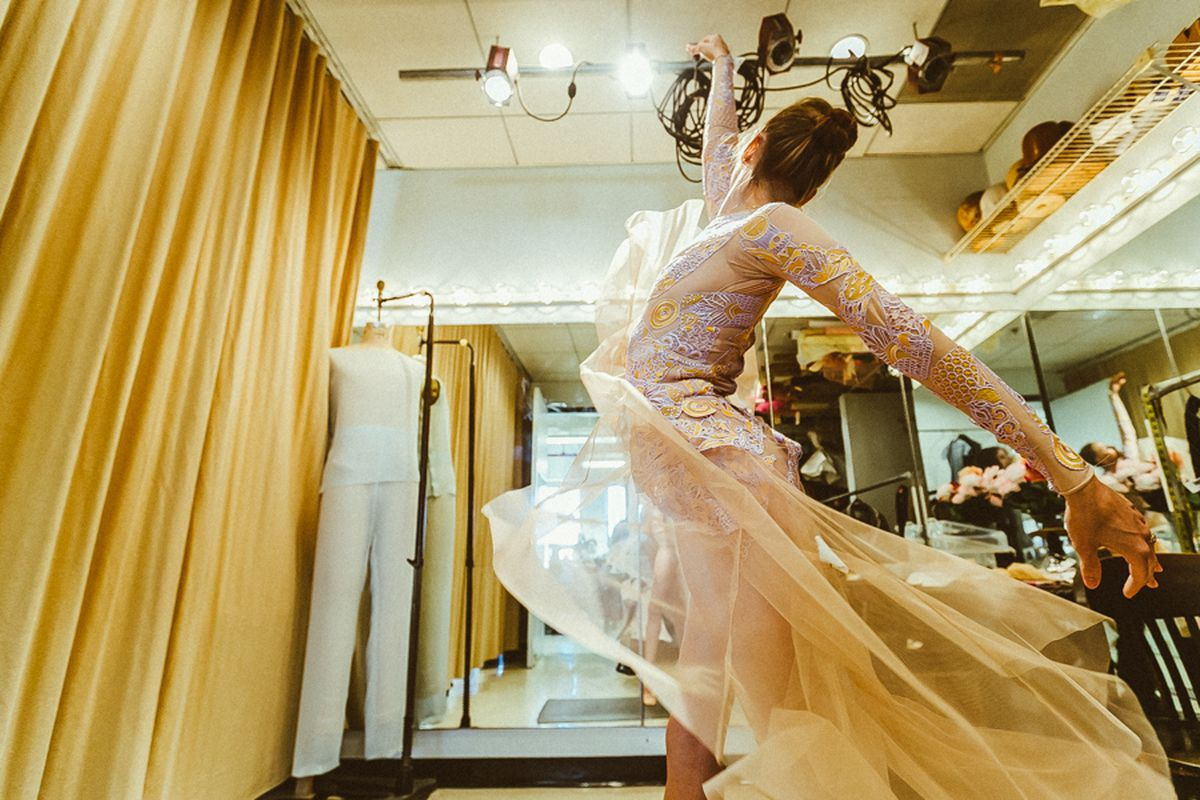 d498de616 A ballerina practices in her Mary Katrantzou costume after a fitting. All  images by Driely