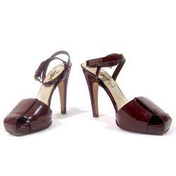 Yves Saint Laurent patent leather square toe heels