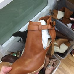 Open leather bootie, $40