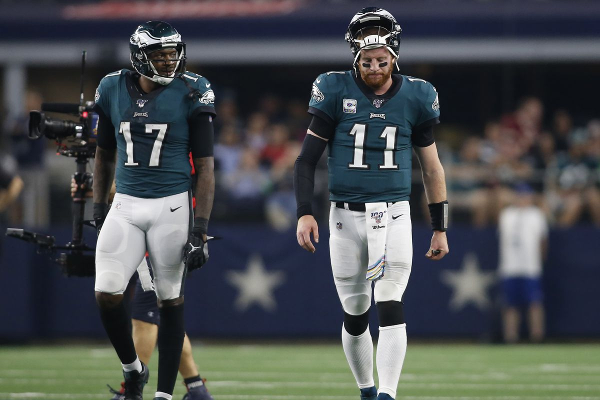 Philadelphia Eagles quarterback Carson Wentz reacts to a play during a timeout in the game against the Dallas Cowboys at AT&T Stadium.