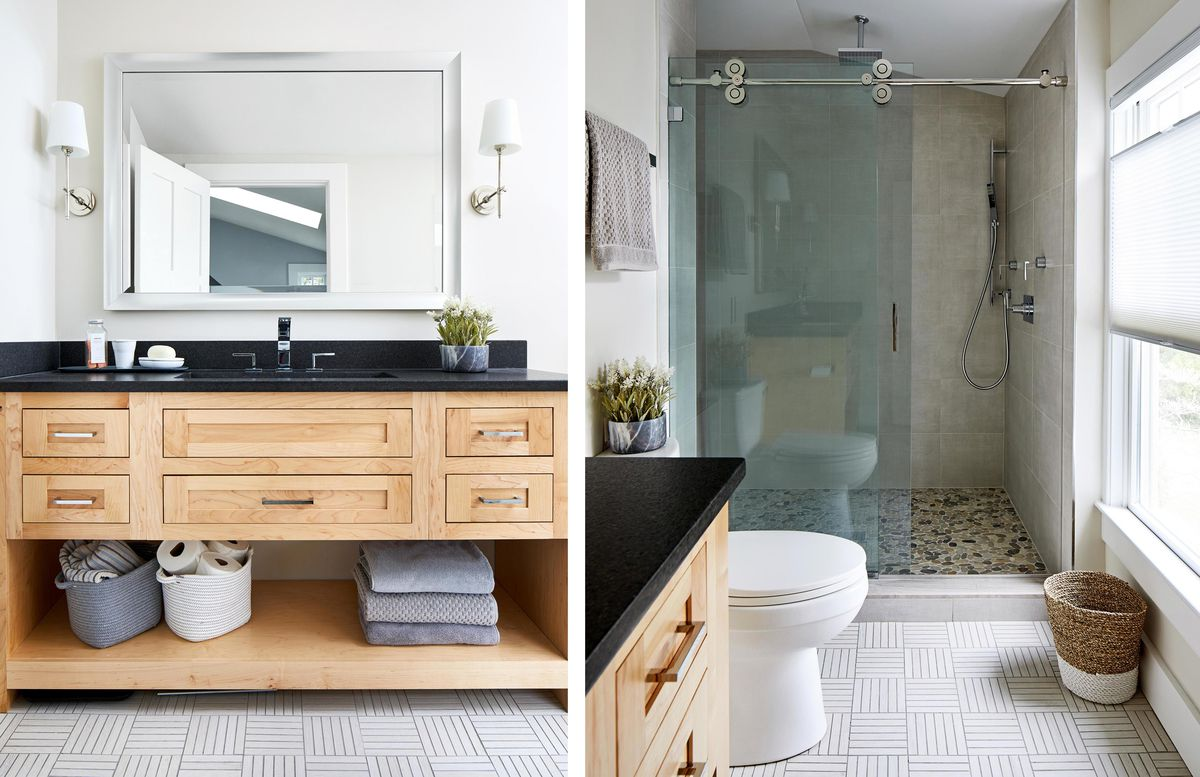 Spring 2021, House Tour: Liverman, master bathroom vanity (left), shower (right)