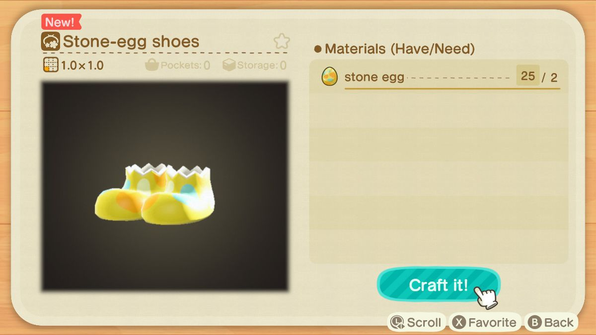 A crafting screen in Animal Crossing showing how to make a Stone-Egg Shoes