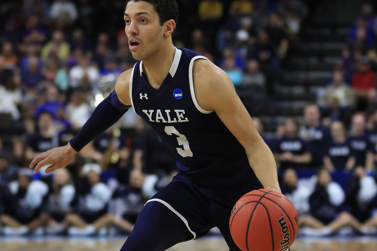 Alex Copeland of the Yale Bulldogs during the first round of the 2019 NCAA Men's Basketball Tournament at VyStar Jacksonville Veterans Memorial Arena on March 21, 2019 in Jacksonville, Florida.