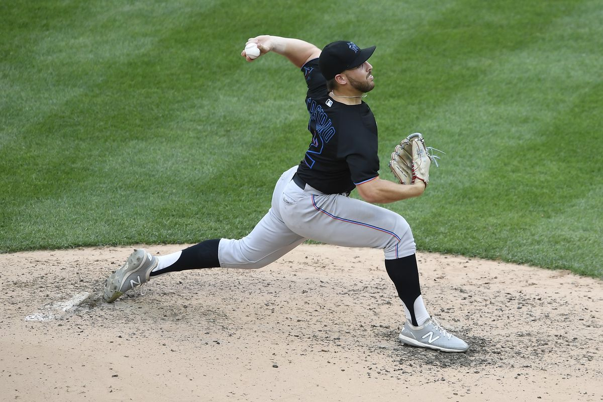 Daniel Castano #72 of the Miami Marlins pitches during the fourth inning against the New York Yankees at Yankee Stadium on September 27, 2020 in the Bronx borough of New York City.