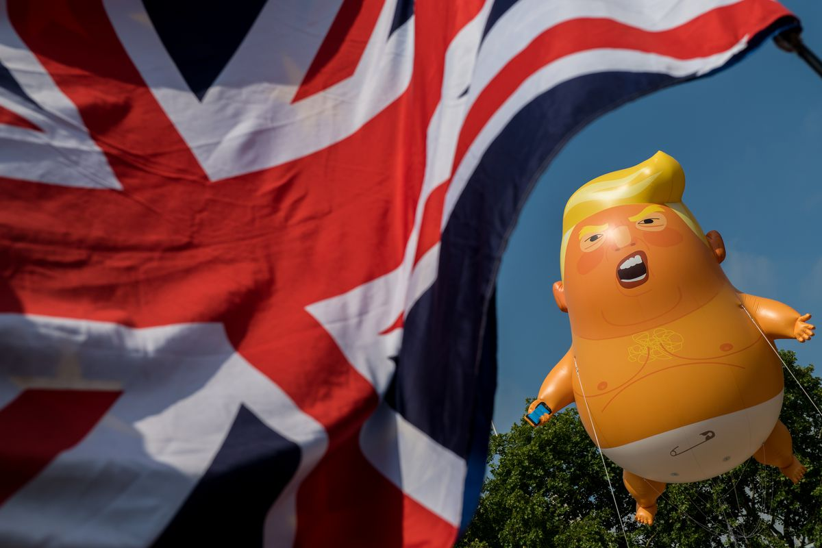 """Demonstrators in the United Kingdom made a """"Trump baby"""" balloon of President Donald Trump on July 13, 2018. It's one of the many signs that he is unpopular in much of the world."""