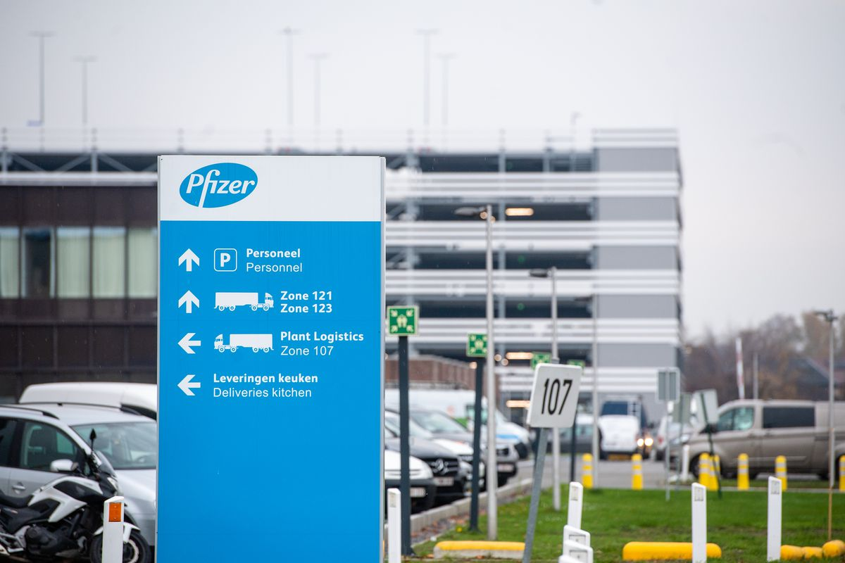 A general view of the pharmaceutical company Pfizer's facility on November 10, 2020 in Puurs, Belgium.
